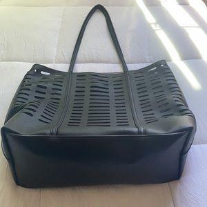 🆕WT! Anthropologie Perforated Tote Bag in Black
